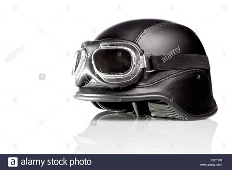 Old Style Us Army Motorcycle Helmet With Goggles Stock