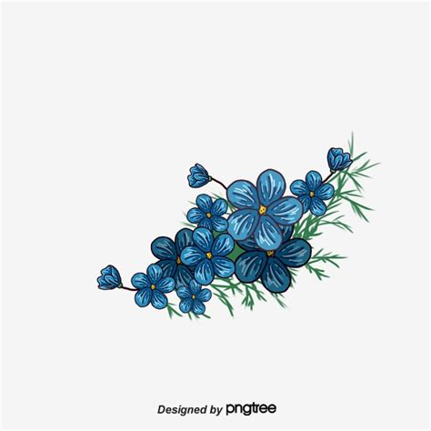 painted blue flower border painted blue frame png