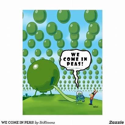 Peas Come Zazzle Cartoon Postcard