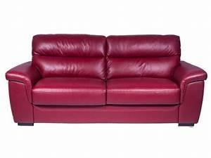Canapé fixe 2 places en cuir GIOVANNI coloris rouge Vente de Canapé droit Conforama