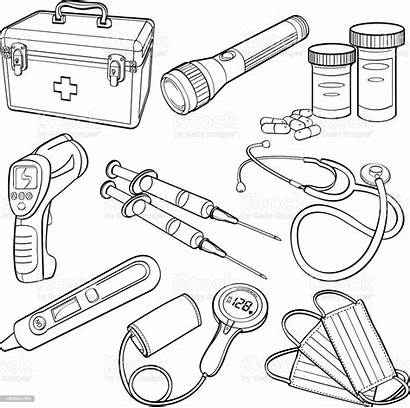 Medical Supplies Background Vector Kit Outlines Vectors