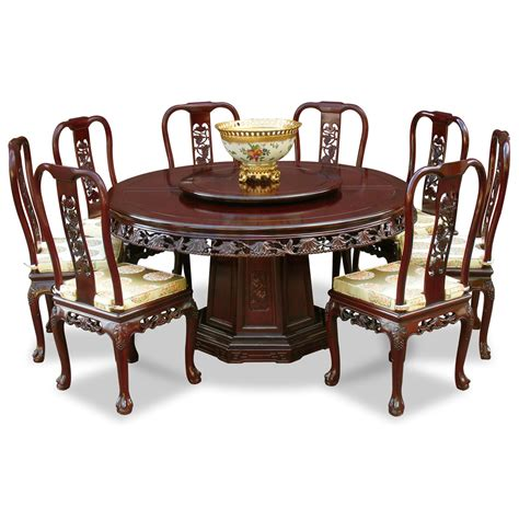 table and 8 chairs 60in rosewood queen ann grape motif round dining table
