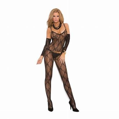 Open Crotch Bodystocking Lace Bow Gloves Tie