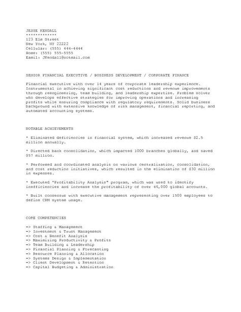 executive resume service accounting u0026 finance cover