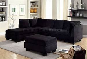 lomma sectional sofa ottoman set cm6316 in black fabric With fabric sectional sofas with ottoman