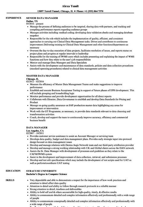 Data Management Resume Sle by Data Manager Resume Sles Velvet