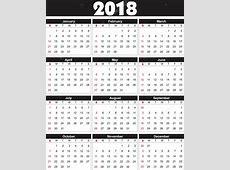 Kalender 2018 i vektor kan omvandlas till valfri storlek