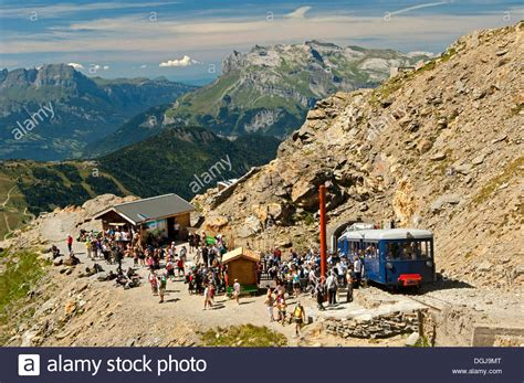terminus of nid d aigle or eagles nest cog railway tramway du stock photo royalty free image