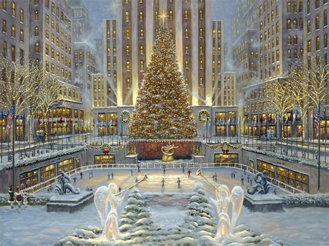 wallpaper rockefeller center tree 2 17 rockefeller tree by robert finale widescreen wallpaper wide wallpapers net