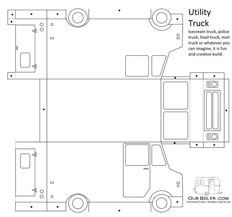truck template utility truck paper car template family outdoor adventures