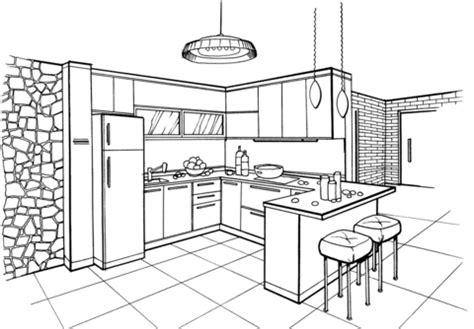 kitchen  minimalist style coloring page  printable