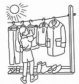 Clothesline Coloring Template sketch template