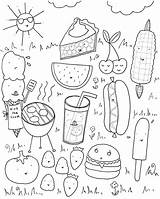 Coloring Pages Summer Foods Printable sketch template