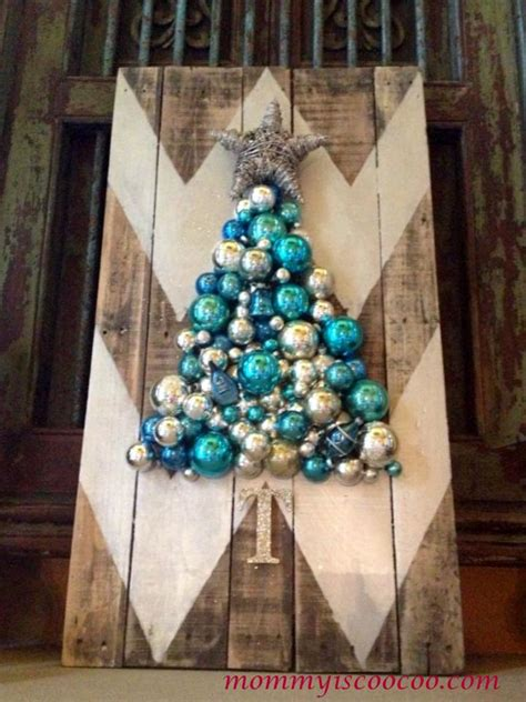 christmas tree made out of ornaments hometalk how to make a chevron pallet ornament tree