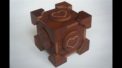 portal companion cube wooden puzzle box youtube