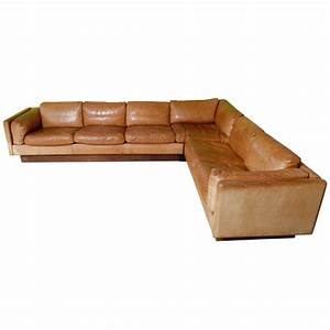 L Shaped Leather And Wood Sofa 1970 At 1stdibs