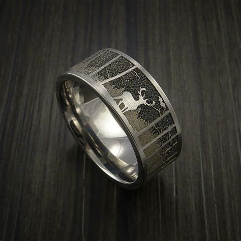 elk in the woods hunter wedding ring cobalt chrome band revolution jewelry
