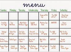 31 Days of Dinners A Menu Plan for the Whole Month The