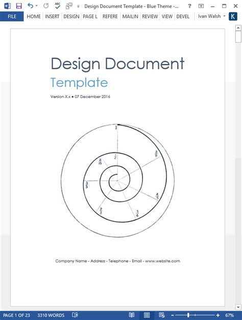 software design document template design document ms word template