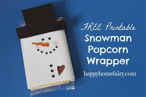 snowman popcorn wrapper  printable happy home fairy