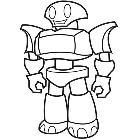 easy robot  lines coloring coloring pages