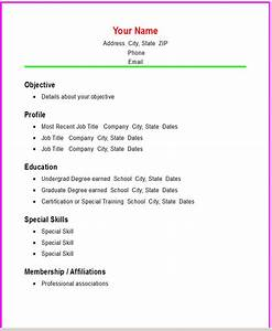 Basic resume template e commercewordpress for Basic resume builder