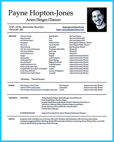 actor resume template    options