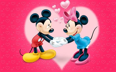 mickey  minnie mouse love couple cartoon red wallpaper