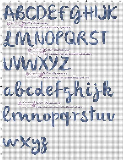 lettere a punto croce per bavaglini lettere alfabeto punto croce corsivo schemi alfabeto punto
