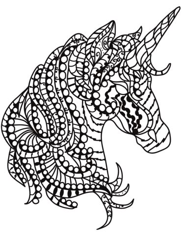 unicorn head zentangle coloring page  printable coloring pages