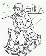 Coloring Winter Pages Printable Sledding sketch template