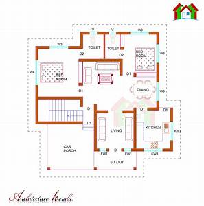 1100 SQUARE FEET SINGLE STORIED HOUSE PLAN ARCHITECTURE