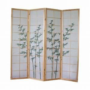 Ciseaux à Bois Japonais : paravent bois naturel avec dessin bambou vert 4 pans ~ Dailycaller-alerts.com Idées de Décoration
