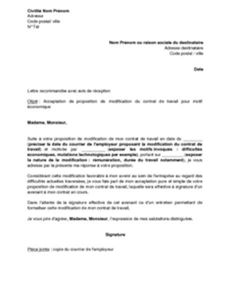 Modification Du Contrat De Travail Délai D Un Mois by Exemple Gratuit De Lettre Acceptation Par Salari 233