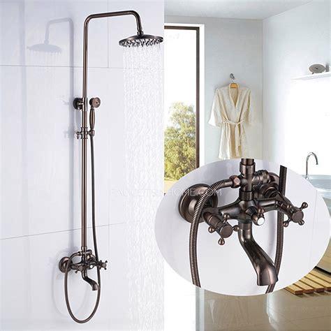 antique copper bathroom tub shower faucet kit double