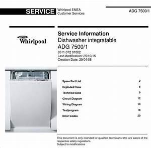 Whirlpool Adg 7500  1 Dishwasher Service Information Manual