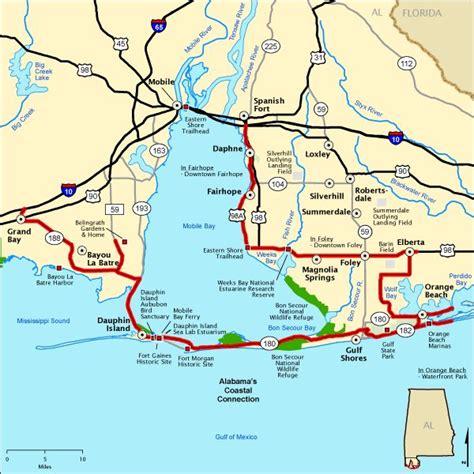 alabamas coastal connection map americas byways