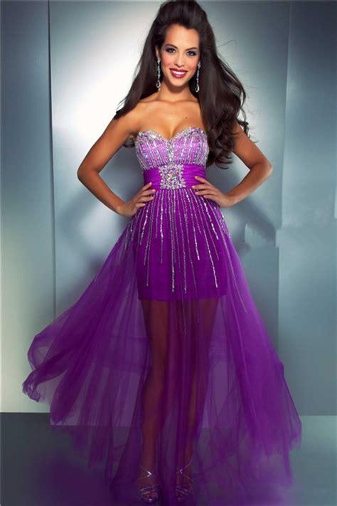 fashion sweetheart high  purple tulle beaded sequin