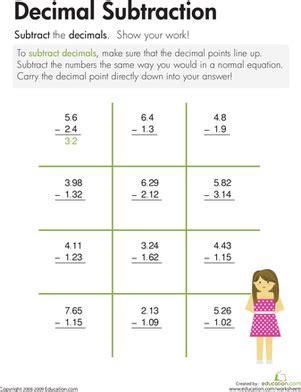 subtract across zeros decimal subtraction worksheet education