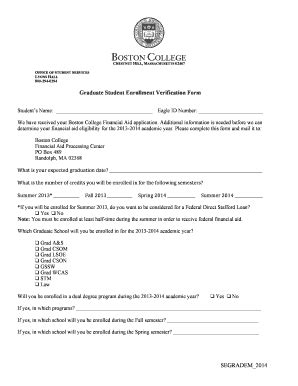 Boston College Forms by Fillable Online Bc Enrollment Verification Form Boston