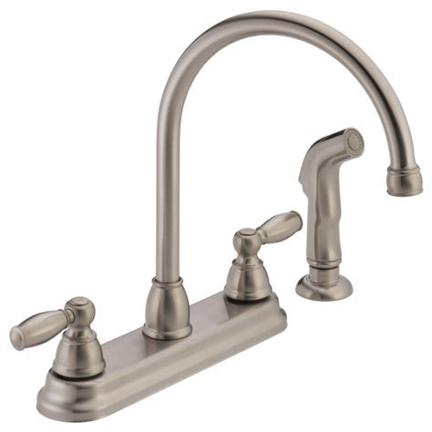 P299575LF SS W   Two Handle Kitchen Faucet