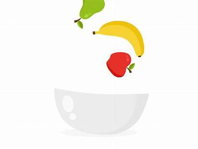 Fruit Bowl Falling Apple Banana Dribbble Orange