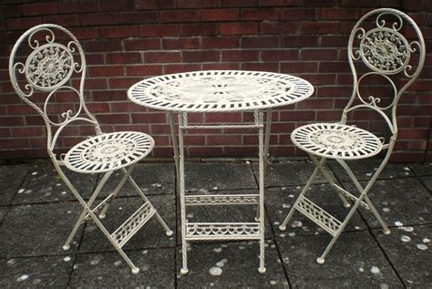 shabby chic patio furniture shabby chic antique cream garden furniture wrought iron patio set table chairs ebay