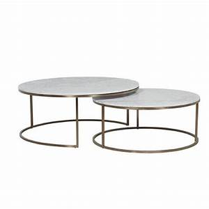 elle nesting coffee tables white marble brass tables With white marble and brass coffee table