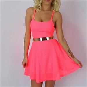 Neon Pink Mesh NET Stretch Bodycon Skater Skirt Full