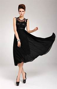 black lace and chiffon full skirt black dress marilyn With robe noire fluide