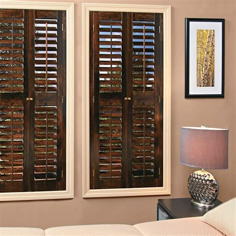 home depot wood shutters interior homebasics plantation walnut wood interior shutters