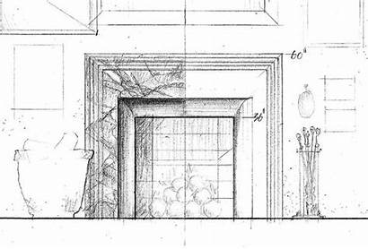 Fireplace Drawing Architecture Sketch Sketches Betsill Workshop