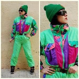 Neon Explosion 80s Vintage Ski suit Ski Romper