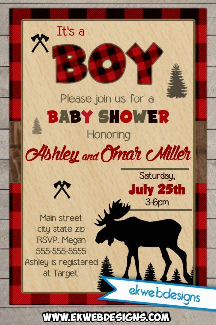 forest baby shower invitation moose lumberjack baby